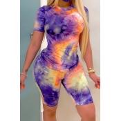 lovely Casual Tie-dye Purple Plus Size Two-piece Shorts Set