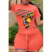 lovely Casual O Neck Print Orange Two-piece Shorts