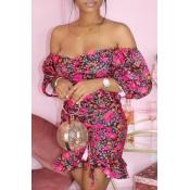 lovely Trendy Dew Shoulder Floral Print Rose Red Mini Dress