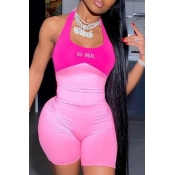 lovely Sportswear Patchwork Pink One-piece Romper