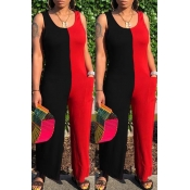 lovely Leisure Patchwork Red Plus Size One-piece J