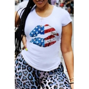 lovely Leisure O Neck Print Pure White T-shirt
