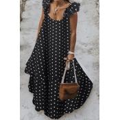 lovely Sweet Dot Print Black Maxi Plus Size Dress