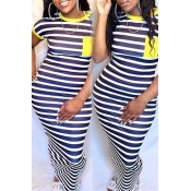 lovely Casual Striped Yellow Ankle Length Plus Siz
