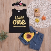 lovely Casual Letter Print Black Girl Two-piece Sh