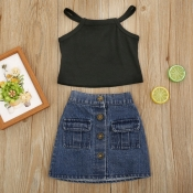 lovely Stylish Buttons Design Black Girl Two-piece