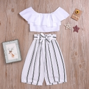 lovely Casual Striped White Girl Two-piece Pants S
