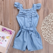 lovely Sweet Buttons Design Baby Blue Girl One-pie