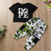 lovely Casual Letter Black Boy Two-piece Pants Set
