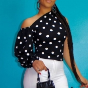 lovely Stylish Dot Print Black Blouse
