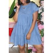 Lovely Sweet O Neck Fold Design Blue Mini Denim Dr