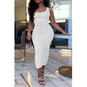 lovely Leisure Fold Design White Ankle Length Dress