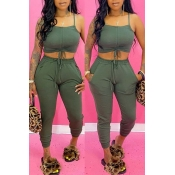lovely Sexy Lace-up Army GreenTwo-piece Pants Set