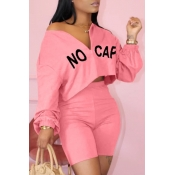 lovely Leisure Letter Pink Two-piece Shorts Set