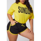 Lovely Leisure Letter Yellow Plus Size Two-piece S