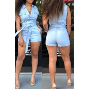 lovely Trendy Buttons Design Baby Blue One-piece R