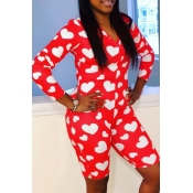 lovely Casual Print Red Plus Size One-piece Romper