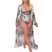 lovely Print Brown One-piece Swimsuit(With Cover-up)
