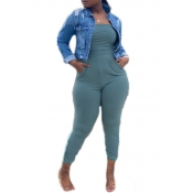 Lovely Sexy Pocket Patched Blue Plus Size One-piece Jumpsuit