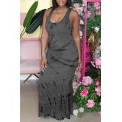 lovely Leisure Tie-dye Dark Grey Maxi Dress