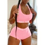Lovely Sportswear U Neck Letter Light Pink Two-piece Shorts Set
