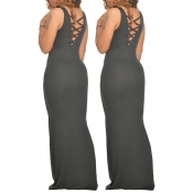 lovely Sexy Hollow-out Black Maxi Dress
