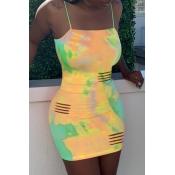 lovely Leisure Tie-dye Yellow Mini Dress