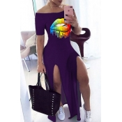 lovely Casual Lip Print Purple Maxi Dress