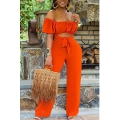 lovely Trendy Hollow-out Jacinth One-piece Jumpsuit
