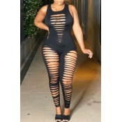 lovely Sexy Hollow-out Black One-piece Jumpsuit