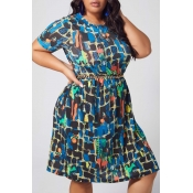 lovely Casual Print Multicolor Knee Length Plus Si