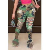 lovely Trendy Hollow-out Camo Print Jeans