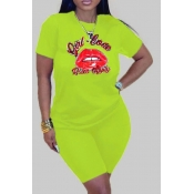 Lovely Casual Lip Print Green Plus Size Two-piece