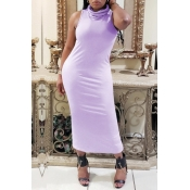 lovely Casual Basic Purple Mid Calf Dress