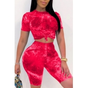 lovely Trendy Tie-dye Red Two-piece Shorts Set