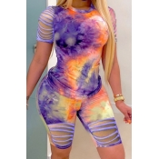 Lovely Trendy Tie Dye Hollow-out Purple Two Piece Shorts Set
