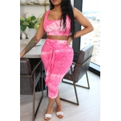 lovely Stylish Tie-dye Pink Two-piece Skirt Set