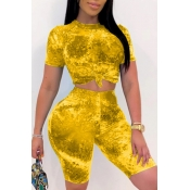 lovely Trendy Tie-dye Yellow Two-piece Shorts Set
