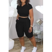 lovely Sportswear Pocket Patched Black Two-piece S
