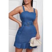 lovely Stylish Flounce Design Blue Mini Denim Dres