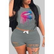 lovely Casual Lip Print Grey Plus Size Two-piece Shorts Set