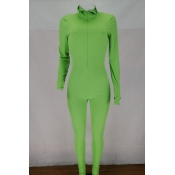 Lovely Stylish Zipper Design Green Plus Size One-p