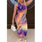 lovely Trendy Tie-dye Purple Ankle Length Dress