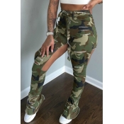 lovely Stylish Camo Print Army Green Pants