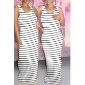 lovely Casual Striped White Maxi Dress