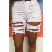 lovely Stylish Hollow-out White Plus Size Shorts