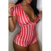 lovely Stylish Striped Red One-piece Romper