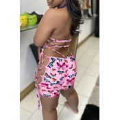 lovely Sexy Butterfly Print Light Pink One-piece Romper