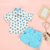 lovely Casual Print Blue Boy Two-piece Shorts Set