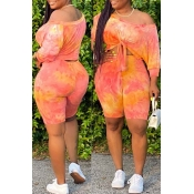 lovely Casual O Neck Tie-dye Croci Two-piece Short